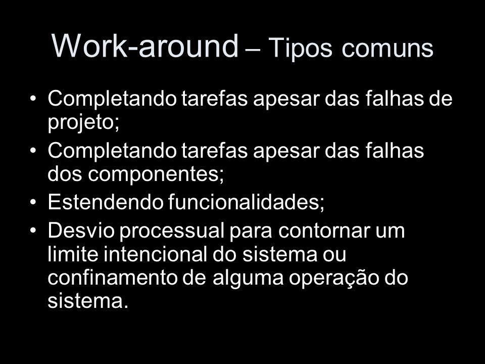 Work-around – Tipos comuns Completando tarefas apesar das falhas de projeto; Completando tarefas apesar das falhas dos componentes; Estendendo funcion