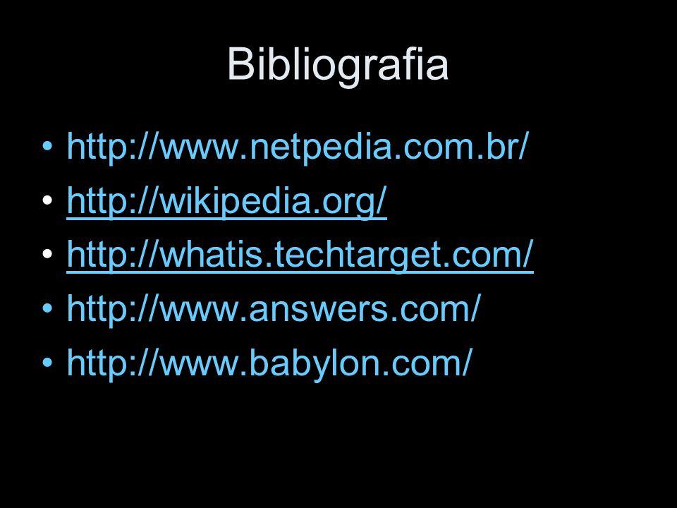 Bibliografia http://www.netpedia.com.br/ http://wikipedia.org/ http://whatis.techtarget.com/ http://www.answers.com/ http://www.babylon.com/