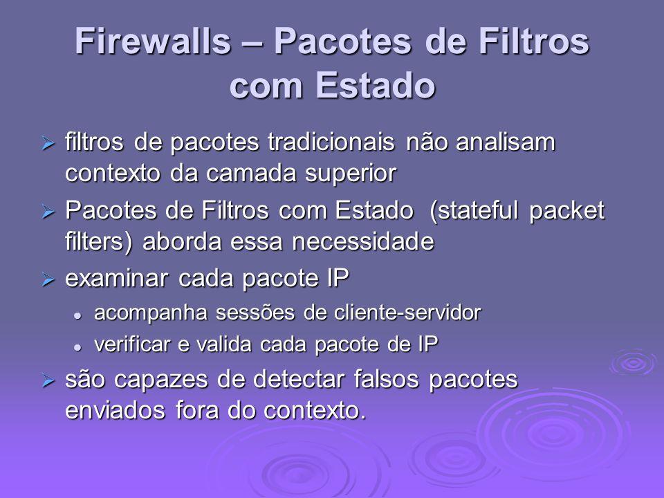 Firewalls – Pacotes de Filtros com Estado filtros de pacotes tradicionais não analisam contexto da camada superior filtros de pacotes tradicionais não