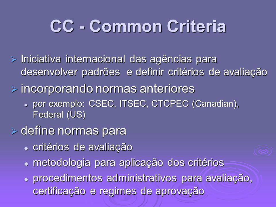 CC - Common Criteria Iniciativa internacional das agências para desenvolver padrões e definir critérios de avaliação Iniciativa internacional das agên