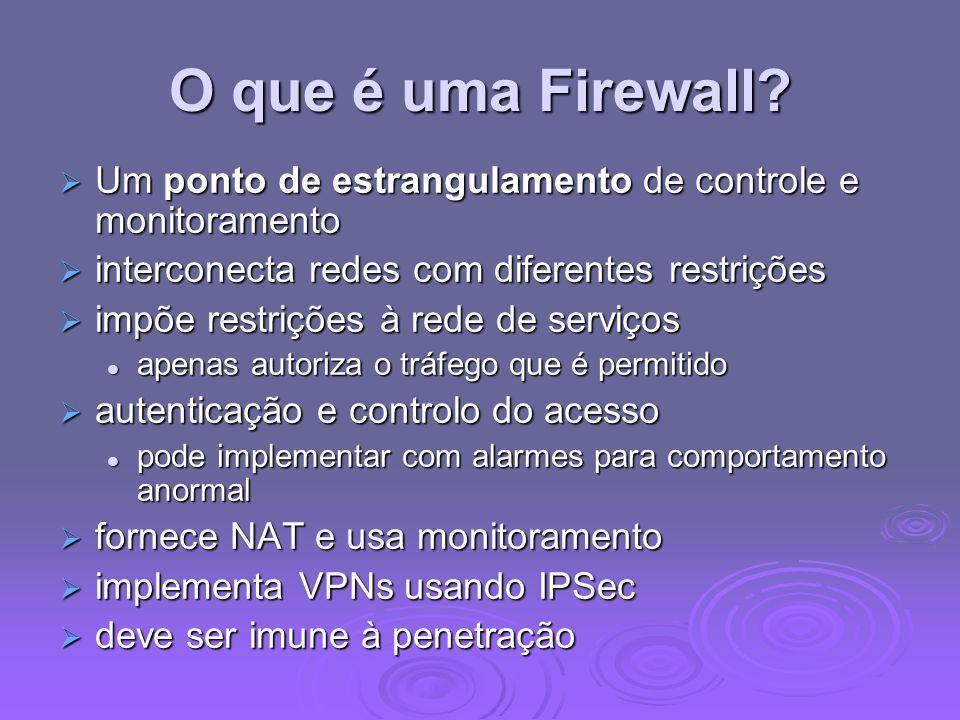 O que é uma Firewall? Um ponto de estrangulamento de controle e monitoramento Um ponto de estrangulamento de controle e monitoramento interconecta red