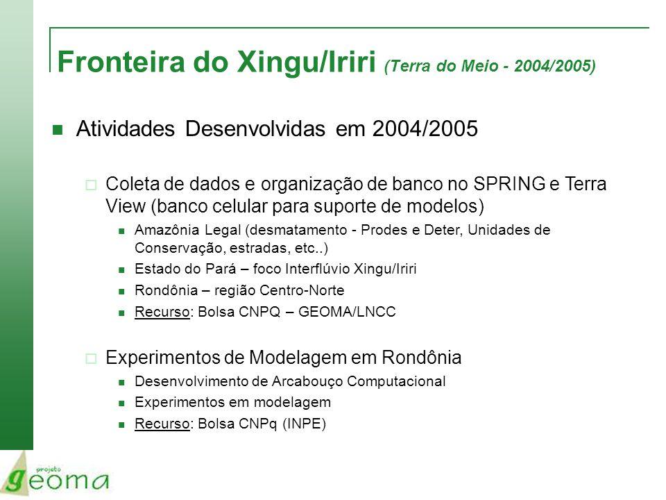 Fronteira do Xingu/Iriri (Terra do Meio - 2004/2005) Atividades Desenvolvidas em 2004/2005 Coleta de dados e organização de banco no SPRING e Terra Vi