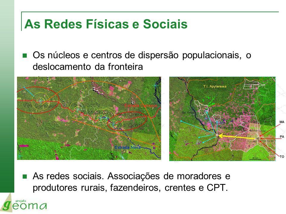 As Redes Físicas e Sociais Os núcleos e centros de dispersão populacionais, o deslocamento da fronteira As redes sociais. Associações de moradores e p