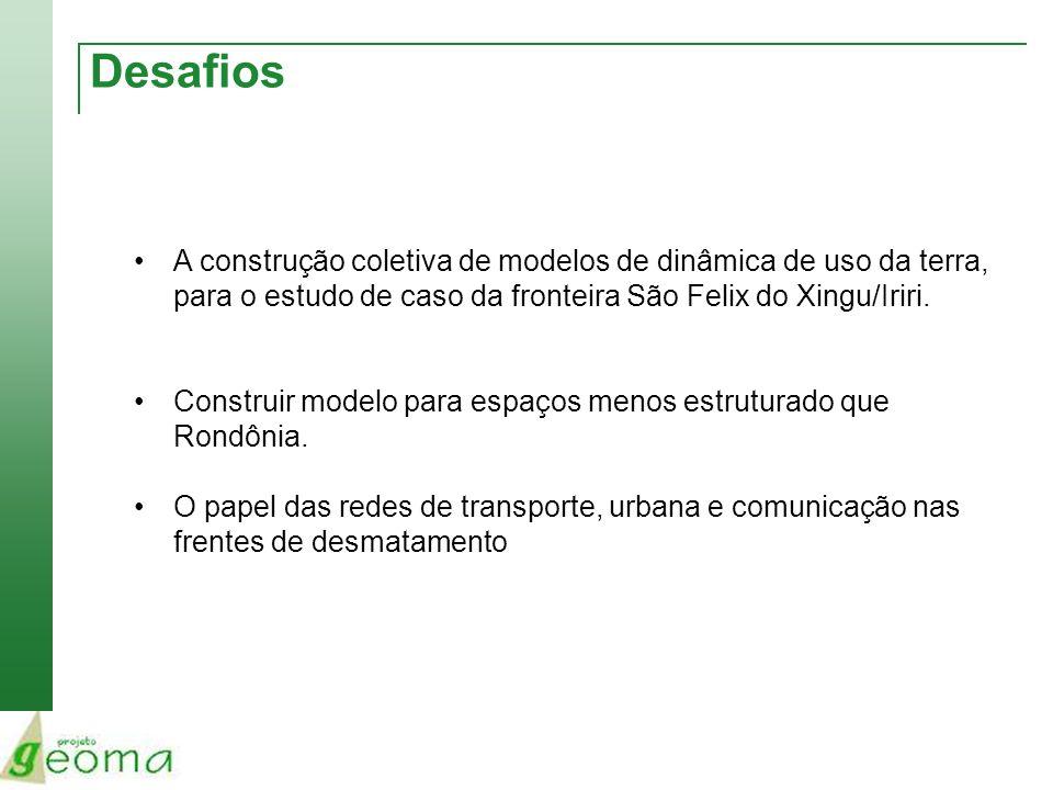 Desafios A construção coletiva de modelos de dinâmica de uso da terra, para o estudo de caso da fronteira São Felix do Xingu/Iriri. Construir modelo p