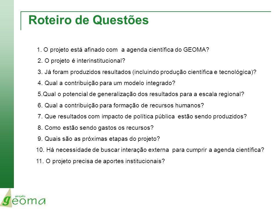 Roteiro de Questões 1. O projeto está afinado com a agenda científica do GEOMA? 2. O projeto é interinstitucional? 3. Já foram produzidos resultados (