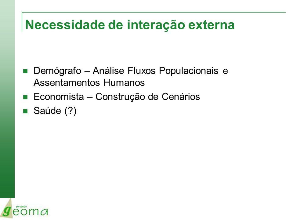 Necessidade de interação externa Demógrafo – Análise Fluxos Populacionais e Assentamentos Humanos Economista – Construção de Cenários Saúde (?)