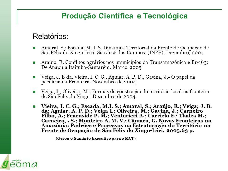 Produção Científica e Tecnológica Relatórios: Amaral, S.; Escada, M. I. S. Dinâmica Territorial da Frente de Ocupação de São Félix do Xingu-Iriri. São