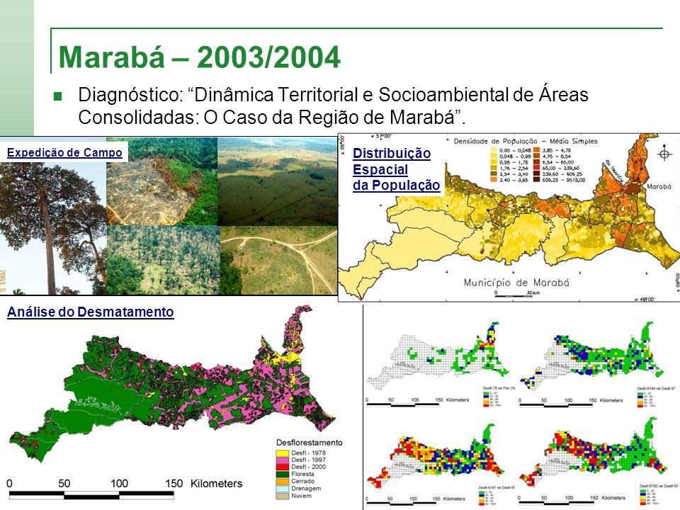 Marabá – 2003/2004 Diagnóstico: Dinâmica Territorial e Socioambiental de Áreas Consolidadas: O Caso da Região de Marabá. Análise do Desmatamento Exped