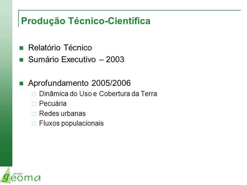 Produção Técnico-Científica Relatório Técnico Sumário Executivo – 2003 Aprofundamento 2005/2006 Dinâmica do Uso e Cobertura da Terra Pecuária Redes ur