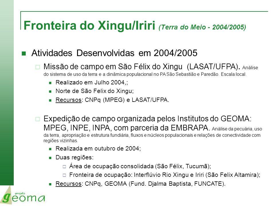 Fronteira do Xingu/Iriri (Terra do Meio - 2004/2005) Atividades Desenvolvidas em 2004/2005 Seminário em Brasília (GEOMA + MCT + Parcerias) Novembro de 2004; Recursos: CNPq, GEOMA (Fundação Djalma Baptista, IMPA/OS); Sumário Executivo.