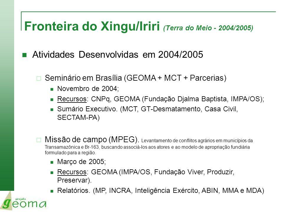 Fronteira do Xingu/Iriri (Terra do Meio - 2004/2005) Atividades Desenvolvidas em 2004/2005 Seminário em Brasília (GEOMA + MCT + Parcerias) Novembro de