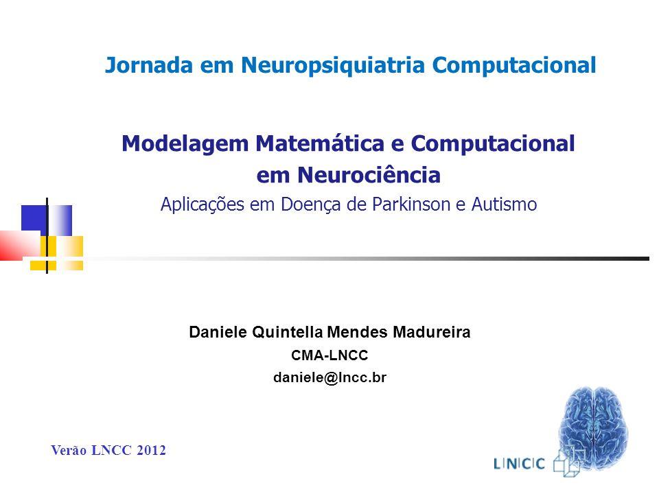 Modelagem Matemática e Computacional em Neurociência Abordagens Diversificadas Doença de Parkinson (DP) Influência Dopaminérgica nas Alterações do Sono (DP) Autismo Generalização e Cognição Jornada em Neuropsiquiatria Computacional Jornada em Neuropsiquiatria Computacional Conteúdo da Apresentação