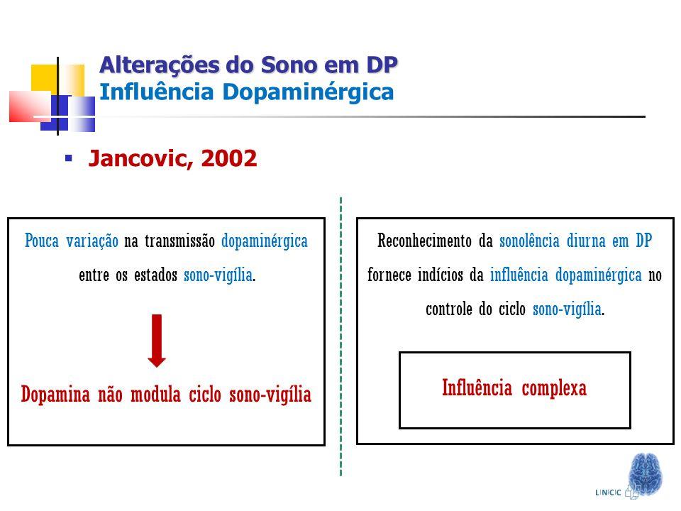 Alterações do Sono em DP Alterações do Sono em DP Influência Dopaminérgica Pouca variação na transmissão dopaminérgica entre os estados sono-vigília.