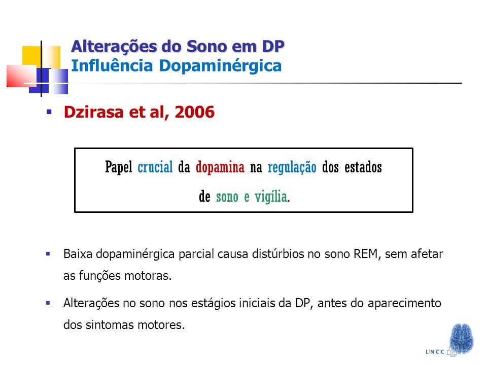 Alterações do Sono em DP Alterações do Sono em DP Influência Dopaminérgica Baixa dopaminérgica parcial causa distúrbios no sono REM, sem afetar as fun
