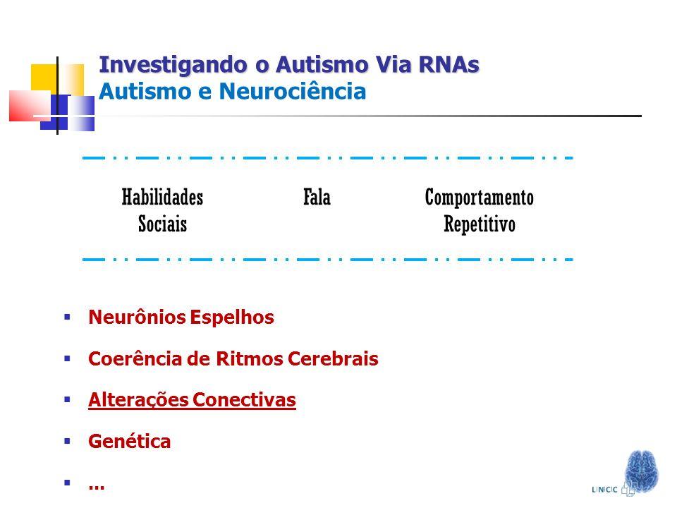Investigando o Autismo Via RNAs Investigando o Autismo Via RNAs Autismo e Neurociência Neurônios Espelhos Coerência de Ritmos Cerebrais Alterações Con