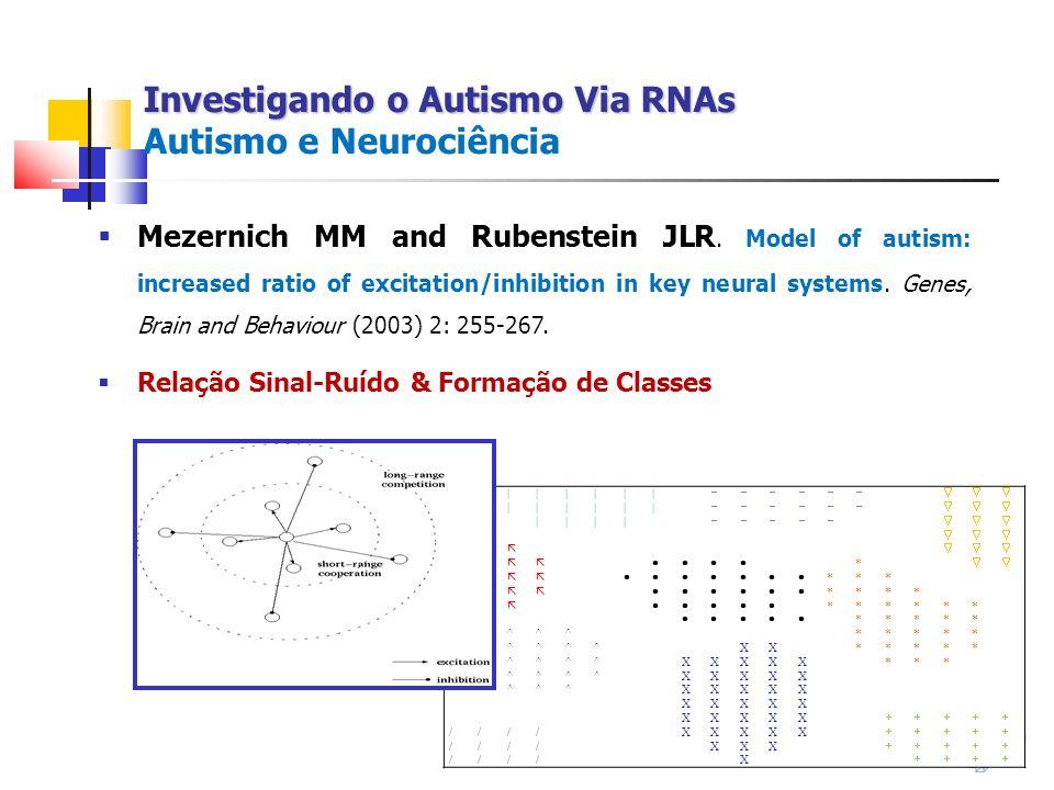 Investigando o Autismo Via RNAs Investigando o Autismo Via RNAs Autismo e Neurociência Mezernich MM and Rubenstein JLR. Model of autism: increased rat