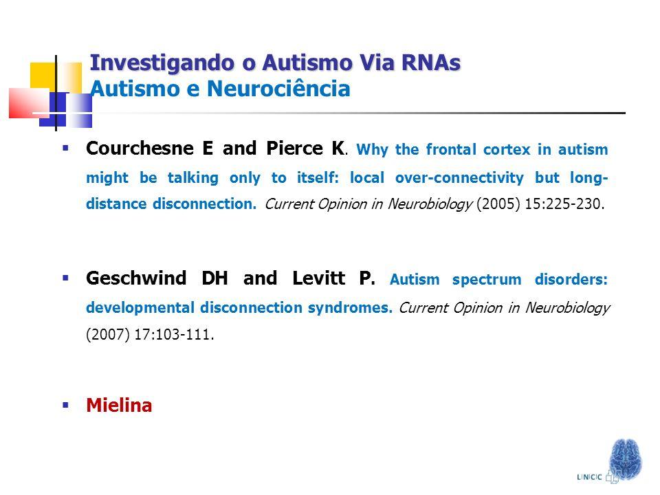 Investigando o Autismo Via RNAs Investigando o Autismo Via RNAs Autismo e Neurociência Courchesne E and Pierce K. Why the frontal cortex in autism mig