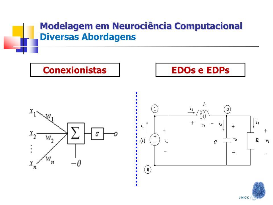 A Arte de Modelar Conhecimento Neurobiológico Abstração do Problema Representação Matemática Simulação Computacional Análise dos Resultados Modelagem em Neurociência Computacional Modelagem em Neurociência Computacional Diversas Abordagens