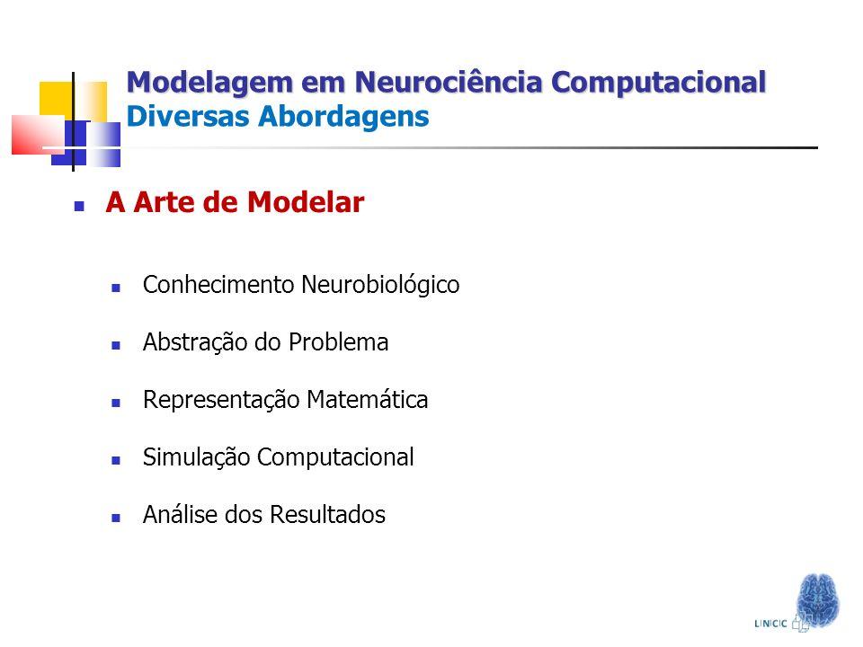 A Arte de Modelar Conhecimento Neurobiológico Abstração do Problema Representação Matemática Simulação Computacional Análise dos Resultados Modelagem