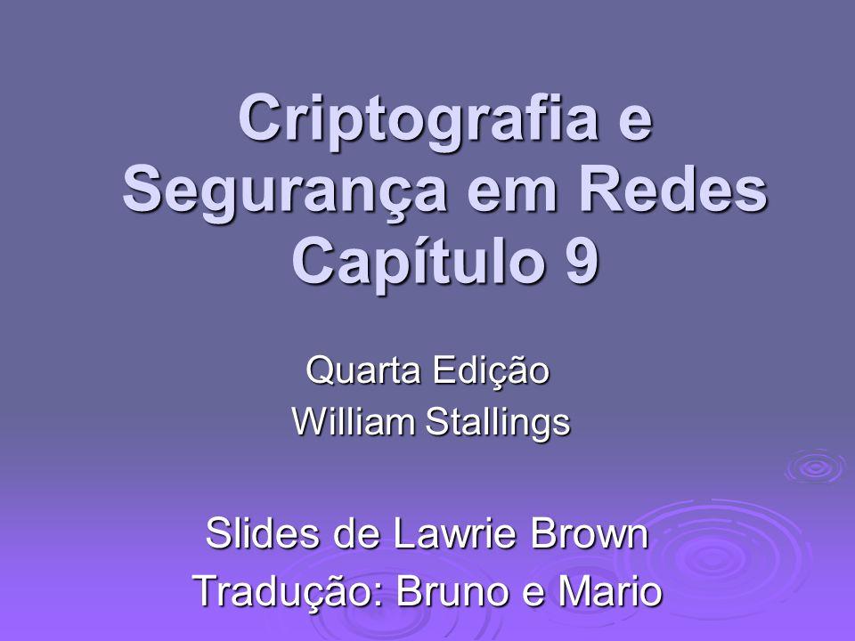 Criptografia e Segurança em Redes Capítulo 9 Quarta Edição William Stallings William Stallings Slides de Lawrie Brown Tradução: Bruno e Mario