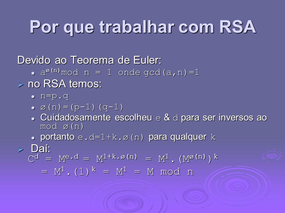 Por que trabalhar com RSA Devido ao Teorema de Euler: a ø(n) mod n = 1 onde gcd(a,n)=1 a ø(n) mod n = 1 onde gcd(a,n)=1 no RSA temos: no RSA temos: n=p.q n=p.q ø(n)=(p-1)(q-1) ø(n)=(p-1)(q-1) Cuidadosamente escolheu e & d para ser inversos ao mod ø(n) Cuidadosamente escolheu e & d para ser inversos ao mod ø(n) portanto e.d=1+k.ø(n) para qualquer k portanto e.d=1+k.ø(n) para qualquer k Daí: C d = M e.d = M 1+k.ø(n) = M 1.(M ø(n) ) k Daí: C d = M e.d = M 1+k.ø(n) = M 1.(M ø(n) ) k = M 1.(1) k = M 1 = M mod n = M 1.(1) k = M 1 = M mod n