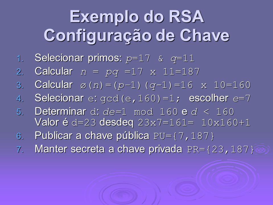Exemplo do RSA Configuração de Chave 1. Selecionar primos: p=17 & q=11 2.