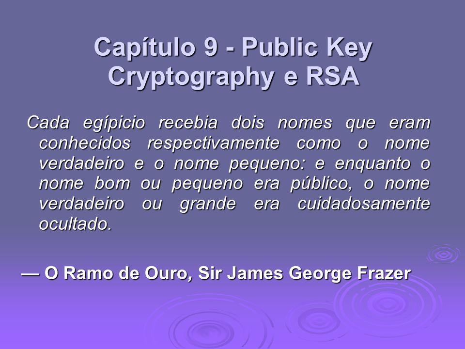 RSA: Segurança Possíveis abordagens para atacar o RSA são: Possíveis abordagens para atacar o RSA são: Pesquisa de chave por força bruta (pesquisa inviável dada dimensão dos números) Pesquisa de chave por força bruta (pesquisa inviável dada dimensão dos números) ataques matemáticos (com base na dificuldade de computação ø (n), pela fatoração do modulo n) ataques matemáticos (com base na dificuldade de computação ø (n), pela fatoração do modulo n) calendário ataques (em funcionamento de descodificação) calendário ataques (em funcionamento de descodificação) timing attacks (on running of decryption) timing attacks (on running of decryption) chosen ciphertext attacks (given properties of RSA) chosen ciphertext attacks (given properties of RSA)