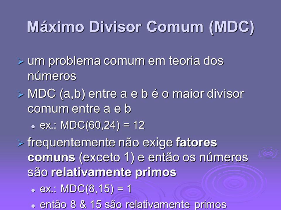 Máximo Divisor Comum (MDC) um problema comum em teoria dos números um problema comum em teoria dos números MDC (a,b) entre a e b é o maior divisor com
