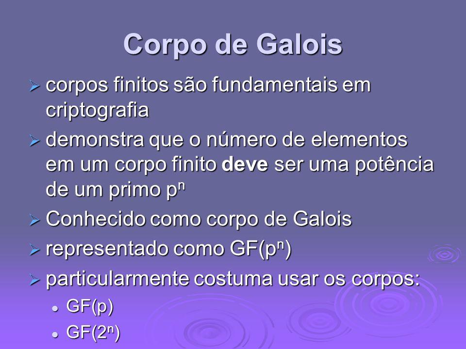 Corpo de Galois corpos finitos são fundamentais em criptografia corpos finitos são fundamentais em criptografia demonstra que o número de elementos em
