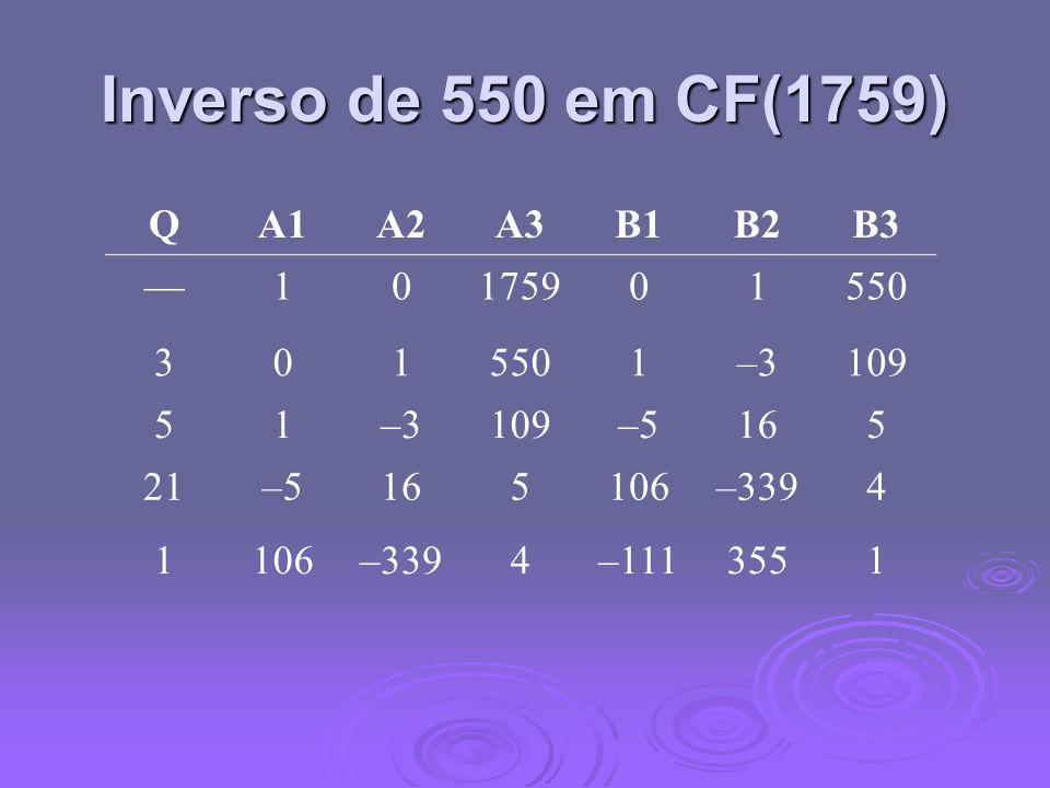Inverso de 550 em CF(1759) QA1A2A3B1B2B3 10175901550 301 1–3109 51–3109–5165 21–5165106–3394 1106–3394–1113551