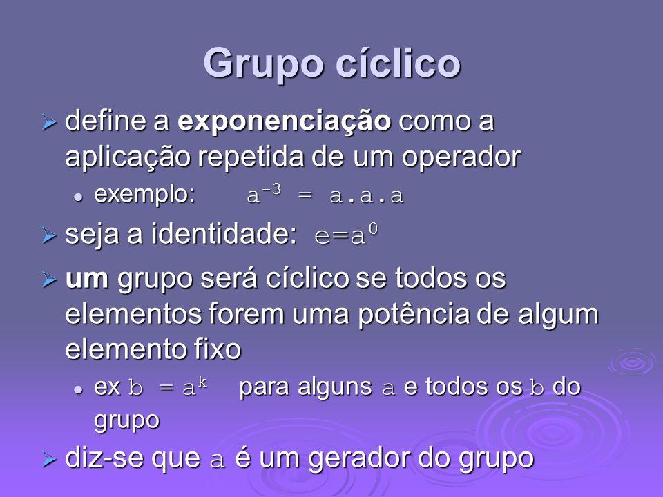 Grupo cíclico define a exponenciação como a aplicação repetida de um operador define a exponenciação como a aplicação repetida de um operador exemplo: