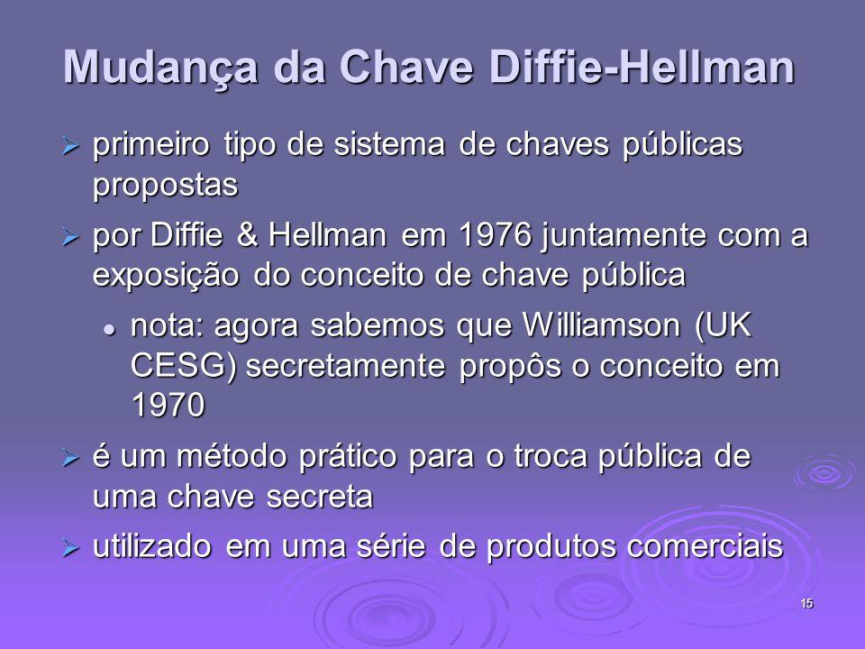 15 Mudança da Chave Diffie-Hellman primeiro tipo de sistema de chaves públicas propostas primeiro tipo de sistema de chaves públicas propostas por Diffie & Hellman em 1976 juntamente com a exposição do conceito de chave pública por Diffie & Hellman em 1976 juntamente com a exposição do conceito de chave pública nota: agora sabemos que Williamson (UK CESG) secretamente propôs o conceito em 1970 nota: agora sabemos que Williamson (UK CESG) secretamente propôs o conceito em 1970 é um método prático para o troca pública de uma chave secreta é um método prático para o troca pública de uma chave secreta utilizado em uma série de produtos comerciais utilizado em uma série de produtos comerciais