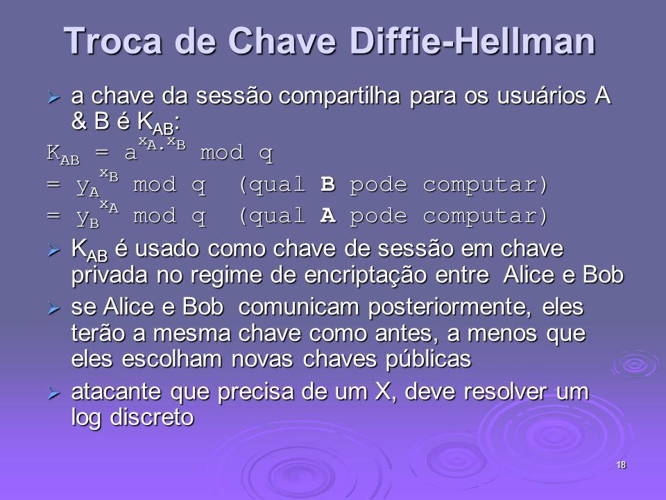 18 Troca de Chave Diffie-Hellman a chave da sessão compartilha para os usuários A & B é K AB : a chave da sessão compartilha para os usuários A & B é K AB : K AB = a x A.