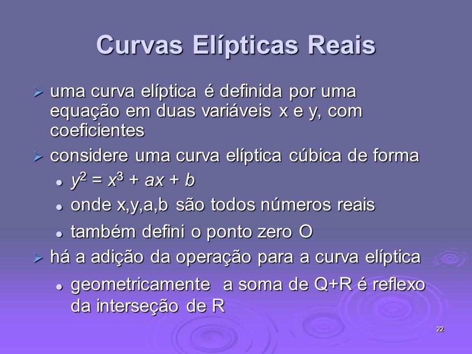22 Curvas Elípticas Reais uma curva elíptica é definida por uma equação em duas variáveis x e y, com coeficientes uma curva elíptica é definida por uma equação em duas variáveis x e y, com coeficientes considere uma curva elíptica cúbica de forma considere uma curva elíptica cúbica de forma y 2 = x 3 + ax + b y 2 = x 3 + ax + b onde x,y,a,b são todos números reais onde x,y,a,b são todos números reais também defini o ponto zero O também defini o ponto zero O há a adição da operação para a curva elíptica há a adição da operação para a curva elíptica geometricamente a soma de Q+R é reflexo da interseção de R geometricamente a soma de Q+R é reflexo da interseção de R