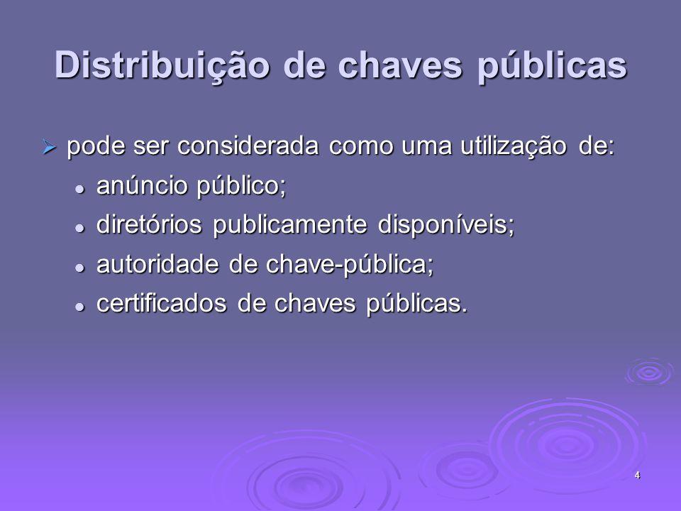 4 Distribuição de chaves públicas pode ser considerada como uma utilização de: pode ser considerada como uma utilização de: anúncio público; anúncio público; diretórios publicamente disponíveis; diretórios publicamente disponíveis; autoridade de chave-pública; autoridade de chave-pública; certificados de chaves públicas.