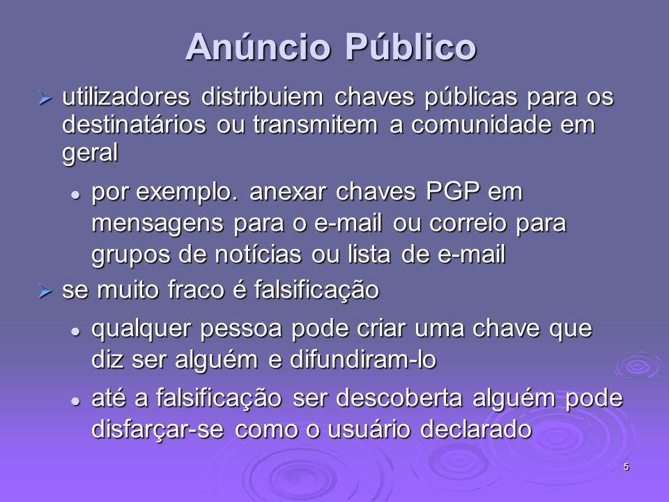 5 Anúncio Público utilizadores distribuiem chaves públicas para os destinatários ou transmitem a comunidade em geral utilizadores distribuiem chaves públicas para os destinatários ou transmitem a comunidade em geral por exemplo.