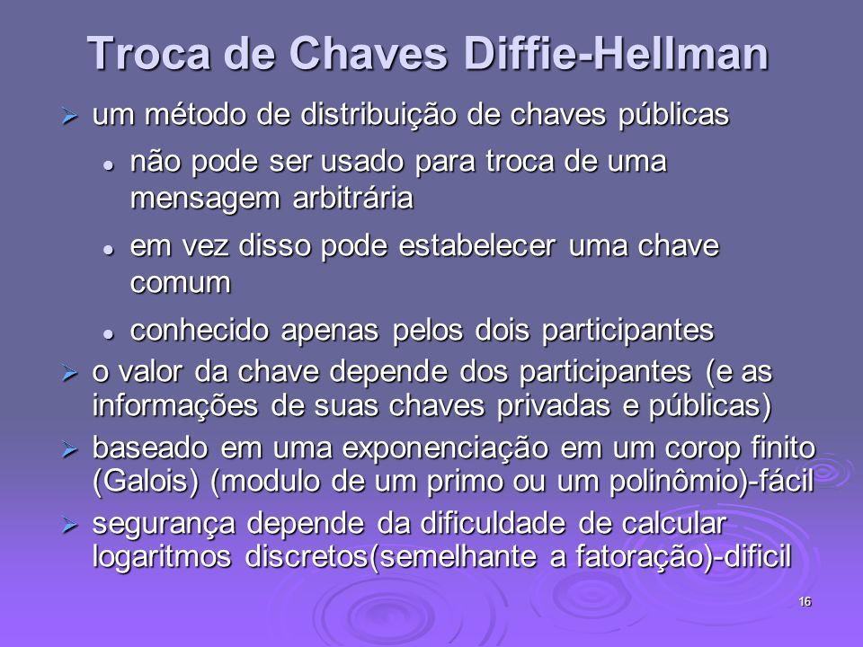 16 Troca de Chaves Diffie-Hellman um método de distribuição de chaves públicas um método de distribuição de chaves públicas não pode ser usado para tr