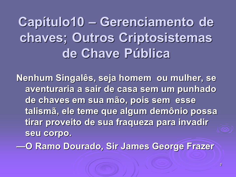 13 Chave Pública Distribuindo Chaves Secretas troca segura de chaves públicas: troca segura de chaves públicas: