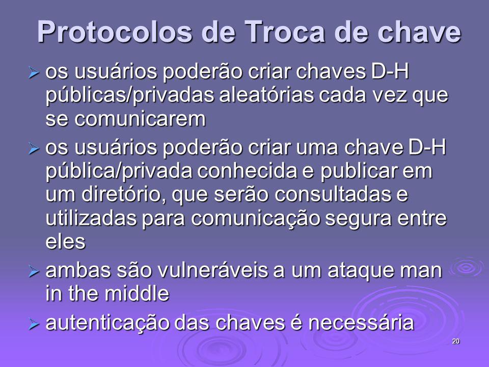 20 Protocolos de Troca de chave os usuários poderão criar chaves D-H públicas/privadas aleatórias cada vez que se comunicarem os usuários poderão cria