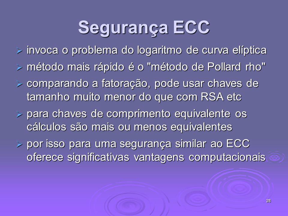 28 Segurança ECC invoca o problema do logaritmo de curva elíptica invoca o problema do logaritmo de curva elíptica método mais rápido é o