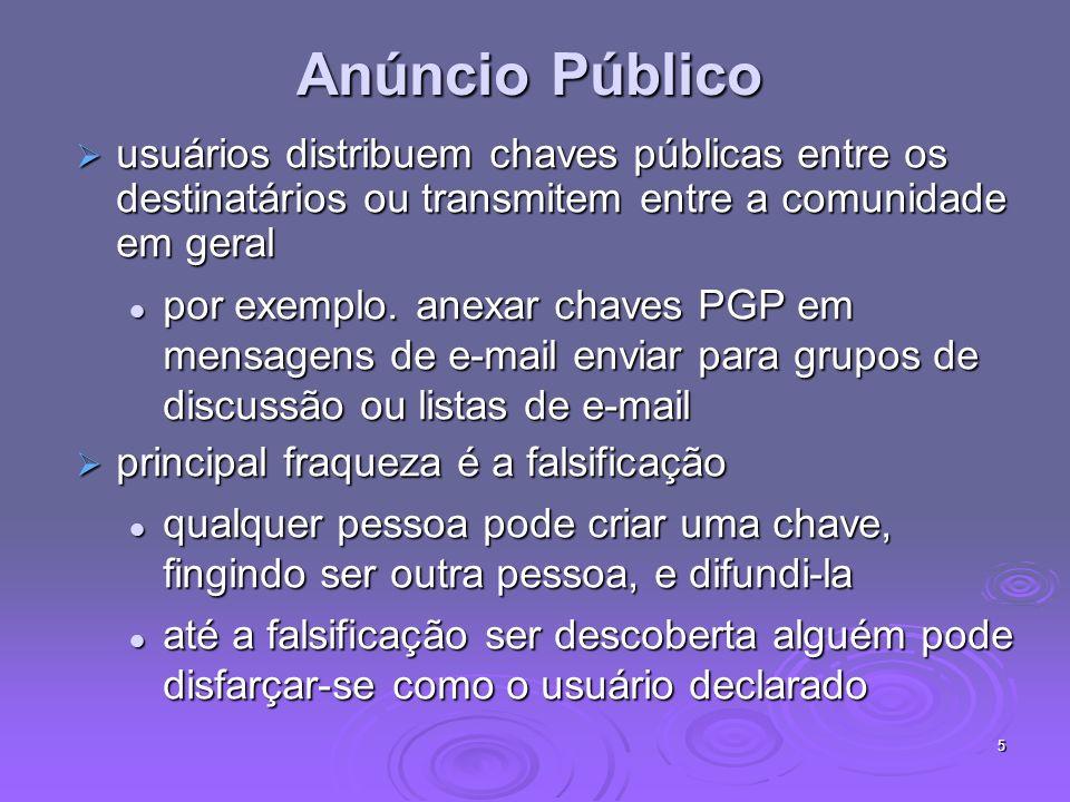5 Anúncio Público usuários distribuem chaves públicas entre os destinatários ou transmitem entre a comunidade em geral usuários distribuem chaves públ