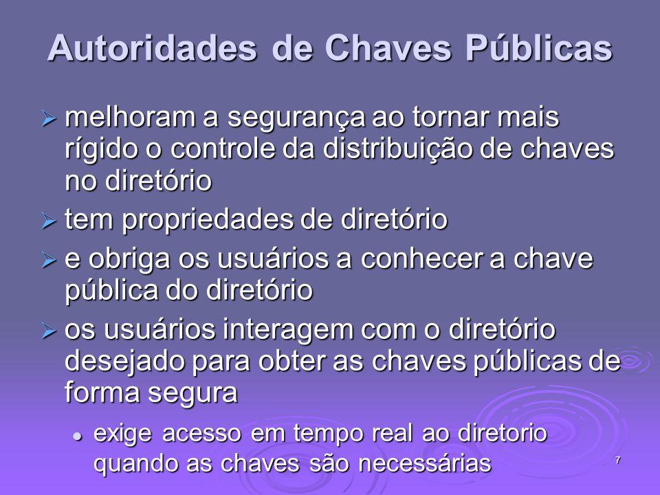 7 Autoridades de Chaves Públicas melhoram a segurança ao tornar mais rígido o controle da distribuição de chaves no diretório melhoram a segurança ao
