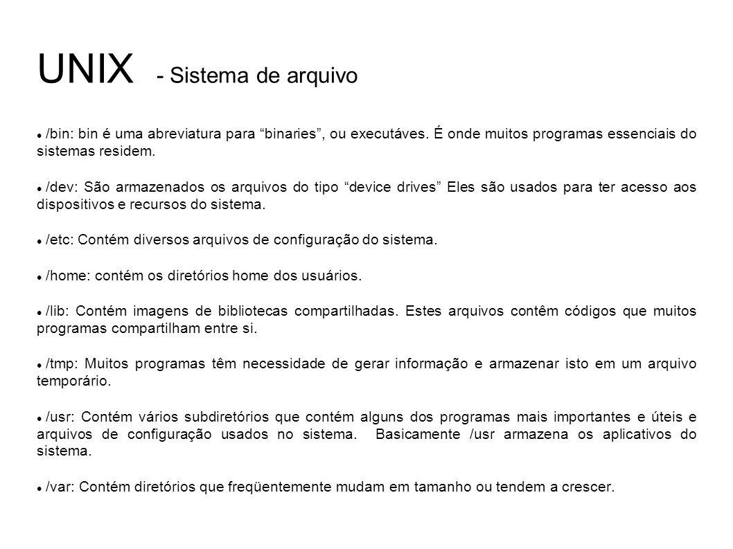 UNIX - Sistema de arquivo /bin: bin é uma abreviatura para binaries, ou executáves.