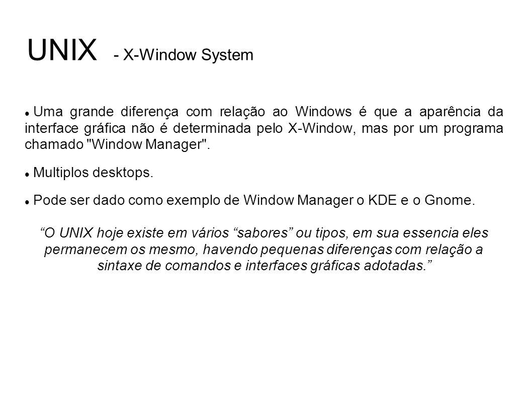 UNIX - X-Window System Uma grande diferença com relação ao Windows é que a aparência da interface gráfica não é determinada pelo X-Window, mas por um programa chamado Window Manager .