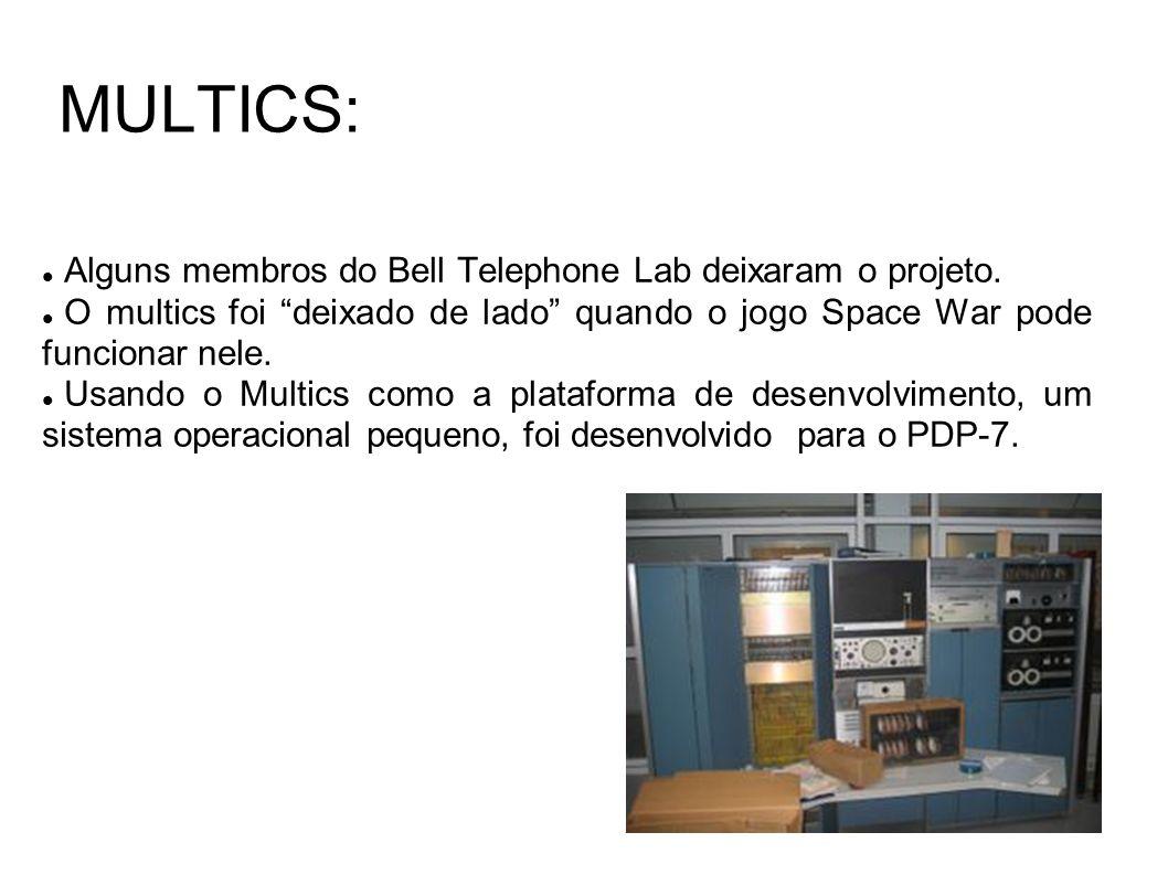 MULTICS: Alguns membros do Bell Telephone Lab deixaram o projeto. O multics foi deixado de lado quando o jogo Space War pode funcionar nele. Usando o