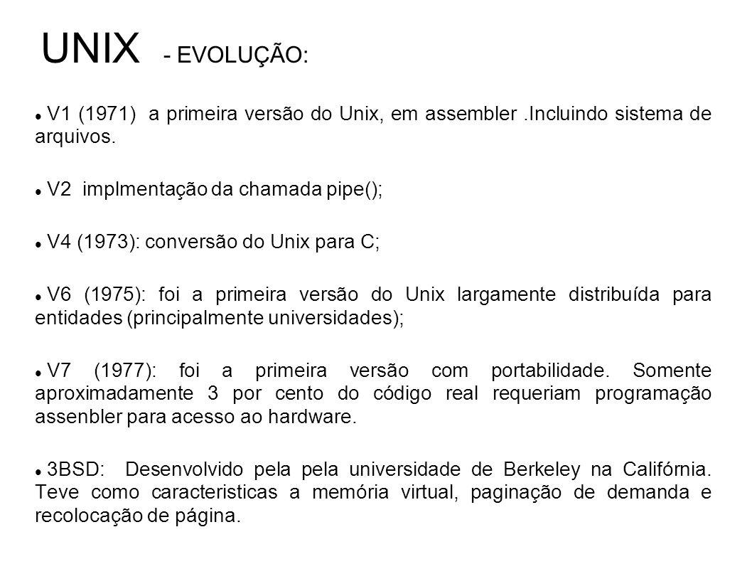 UNIX - EVOLUÇÃO: V1 (1971) a primeira versão do Unix, em assembler.Incluindo sistema de arquivos. V2 implmentação da chamada pipe(); V4 (1973): conver