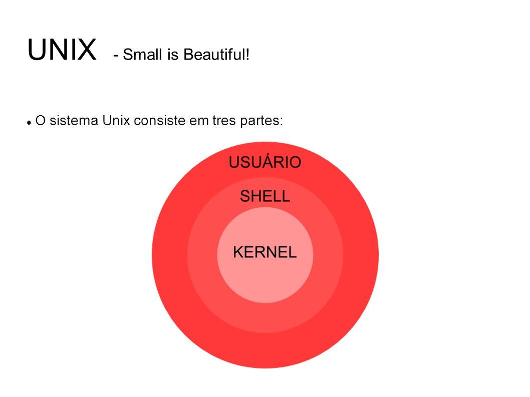 UNIX - Small is Beautiful! O sistema Unix consiste em tres partes: