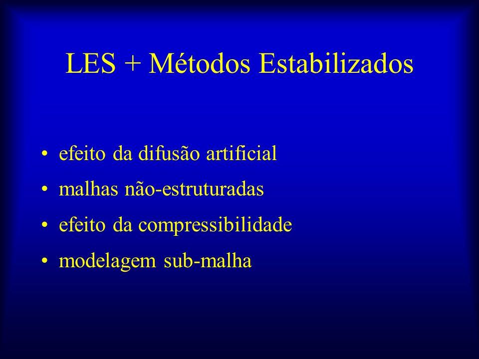LES + Métodos Estabilizados efeito da difusão artificial malhas não-estruturadas efeito da compressibilidade modelagem sub-malha