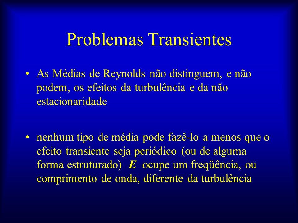 Problemas Transientes As Médias de Reynolds não distinguem, e não podem, os efeitos da turbulência e da não estacionaridade nenhum tipo de média pode