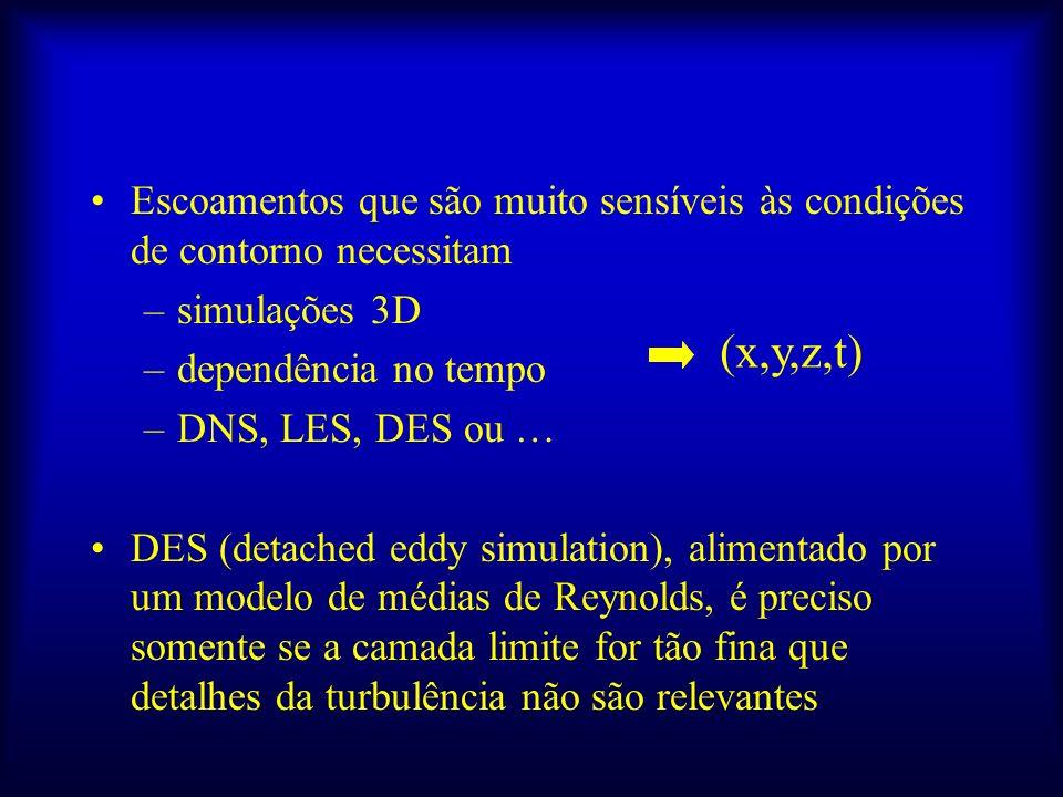 Escoamentos que são muito sensíveis às condições de contorno necessitam –simulações 3D –dependência no tempo –DNS, LES, DES ou … DES (detached eddy si